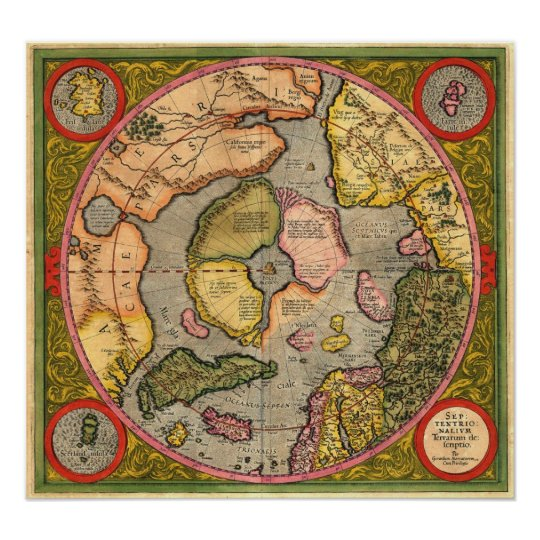 North Pole Map by Mercator Poster