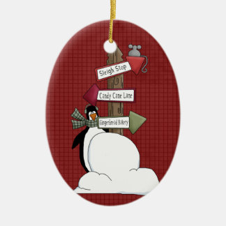 North Pole Penguin Ceramic Christmas Ornament