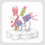 North Pole Polar Bear Christmas Gifts Stickers