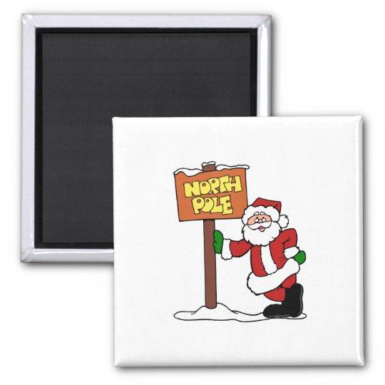 North Pole Santa Square Magnet