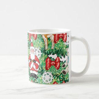 North Pole Themed Mini Ornaments on Christmas Tree Basic White Mug