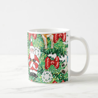 North Pole Themed Mini Ornaments on Christmas Tree Coffee Mug