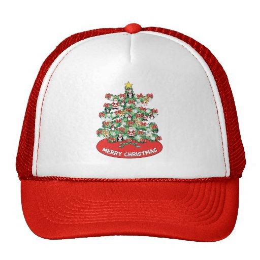 North Pole Themed Mini Ornaments on Christmas Tree Trucker Hats