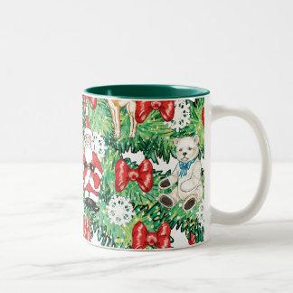 North Pole Themed Mini Ornaments on Christmas Tree Two-Tone Coffee Mug