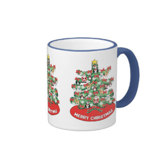 North Pole Themed Mini Ornaments on Christmas Tree Ringer Coffee Mug