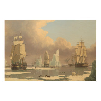North Pole Three Masted Ships Ocean Scene Wood Print