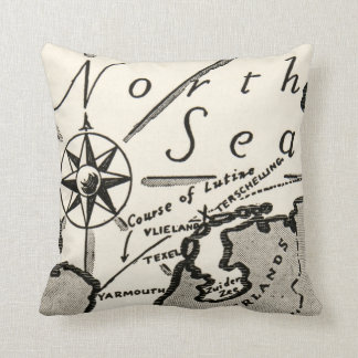 North Sea Map Graphic Bold Compass Cushion