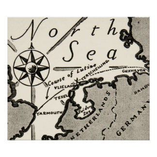 North Sea Map Graphic Bold Compass Poster