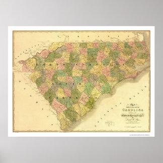 North & South Carolina Map 1839 Poster