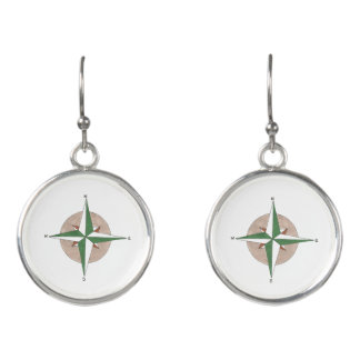 North South East West Camping Hiking Compass Earrings