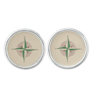 North South East West Camping Hiking Compass Tan Cuff Links