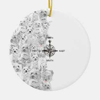 North South East & Westie Dog Christmas Ornament