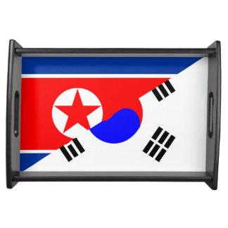 north south korea half flag country symbol serving tray