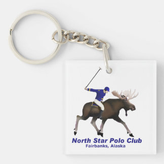 North Star Polo Club Double-Sided Square Acrylic Key Ring