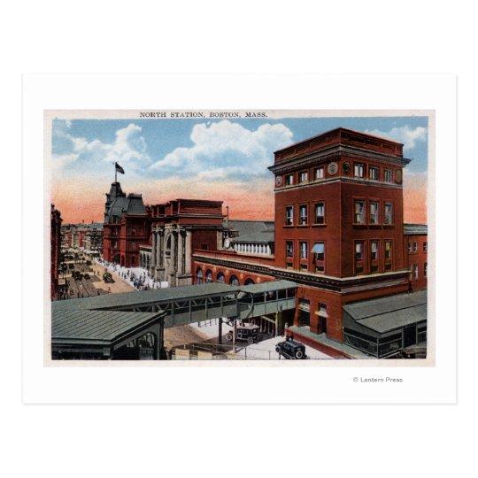 North Station - Railroad Depot Postcard