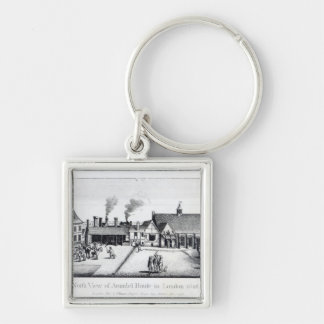 North View of Arundel House in London Silver-Colored Square Key Ring