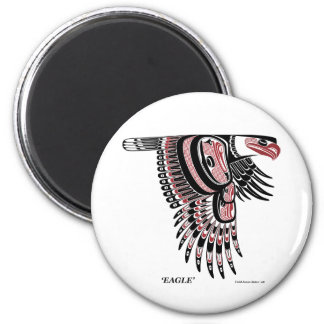 North West Coast Native Eagle 6 Cm Round Magnet