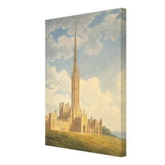 North-west view of Fonthill Abbey (w/c on paper) Canvas Print