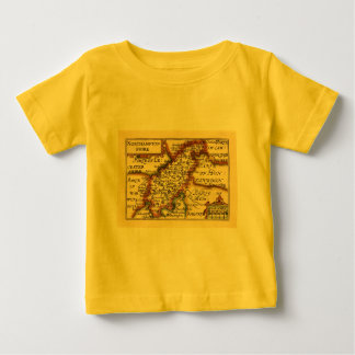 Northamptonshire County Map, England Baby T-Shirt