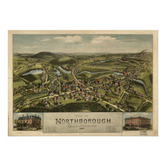 Northborough Mass. 1887 Antique Panoramic Map Poster