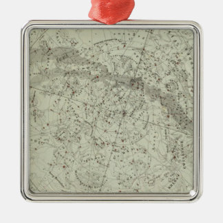 Norther Night Sky map Silver-Colored Square Decoration