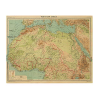 Northern Africa with shipping routes Wood Wall Decor