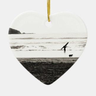 Northern California Beach Scene Ceramic Heart Decoration