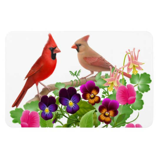 Northern Cardinal Birds Premium Magnet