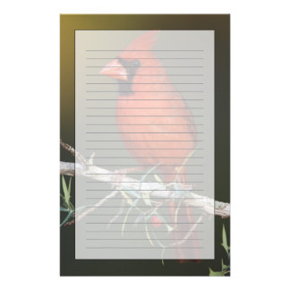 Northern Cardinal, Cardinalis cardinalis, male Customised Stationery