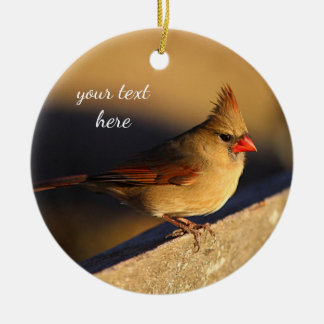 Northern cardinal female christmas ornament
