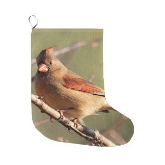 Northern cardinal female large christmas stocking