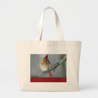 Northern Cardinal Female Large Tote Bag