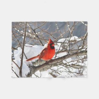 Northern cardinal in the snow fleece blanket