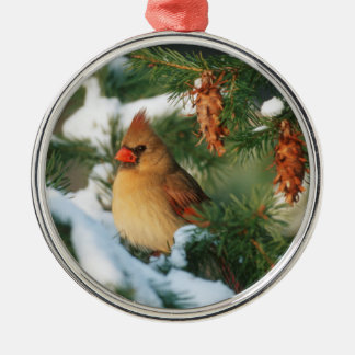 Northern Cardinal in tree, Illinois Silver-Colored Round Decoration
