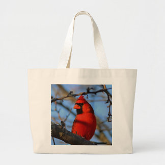Northern cardinal large tote bag