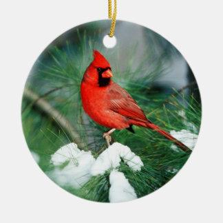Northern Cardinal male on tree, IL Round Ceramic Decoration