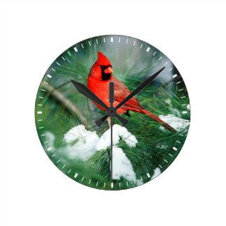 Northern Cardinal male on tree, IL Round Clock