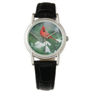 Northern Cardinal male on tree, IL Wrist Watch