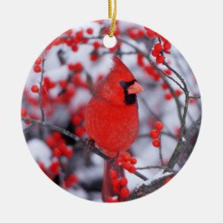 Northern Cardinal male, Winter, IL Round Ceramic Decoration