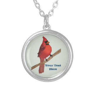 Northern Cardinal Red Bird Silver Plated Necklace
