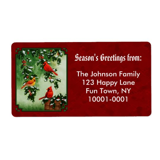 Northern Cardinals and Holly Red Shipping Label