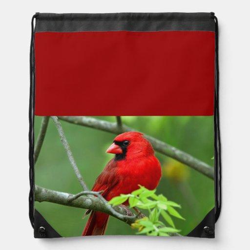 Northern cardinals drawstring bags