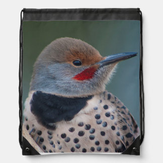 Northern Flicker Red Shafted Male Woodpecker Drawstring Bags