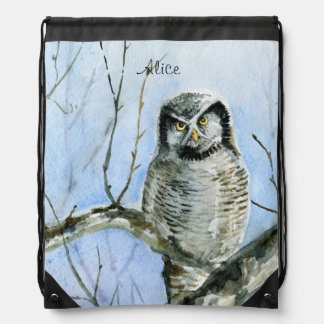 Northern hawk-owl drawstring bag