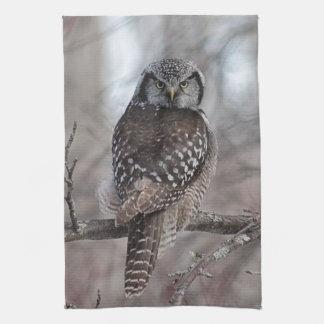Northern Hawk Owl Tea Towel