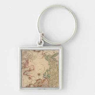 Northern Hemisphere, Arctic Silver-Colored Square Key Ring