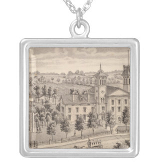 Northern Indiana Normal School buildings Silver Plated Necklace
