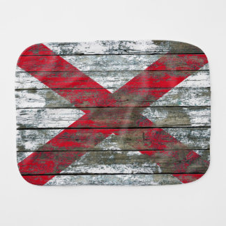 Northern Ireland Flag on Rough Wood Boards Effect Burp Cloth