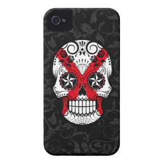 Northern Ireland Flag Sugar Skull with Roses iPhone 4 Case
