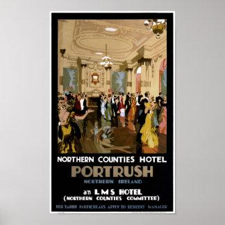Northern Ireland Portrush Vintage Travel Poster